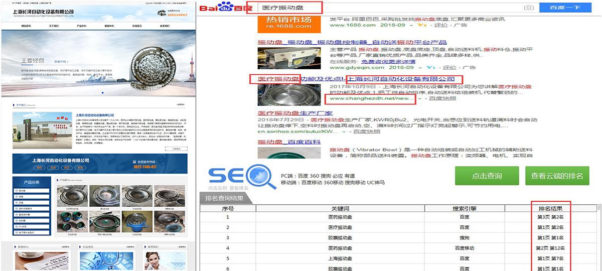 上海长河自动化设备有限公司官网——长沙网站优化排名_SEO案例